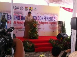 Direktur Utama MASGROUP, Suwandi Tio memberikan sambutan saat Pencanangan Program Sejuta Rumah Di Tangerang