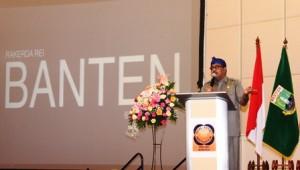Rano Karno memberikan sambutan dalam acara RAKERDA REI Banten