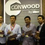 Manajemen Conwood Indonesia memperkenalkan produk terbarunya di pembukaan Mega Build Indonesia 2016