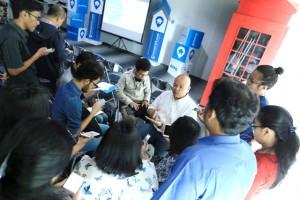 Country General Manager Rumah123.com, Ignatius Untung tengah menjawab pertanyaan wartawan