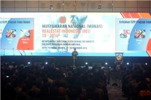 Presiden RI Joko Widodo saat memberikan sambutan pada Munas REI XV 2016
