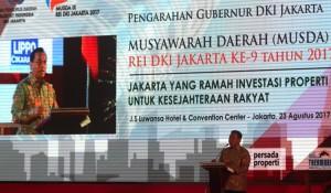 Sekda DKI Jakarta Saefullah saat membuka acara Musda DPD REI DKI Jakarta.